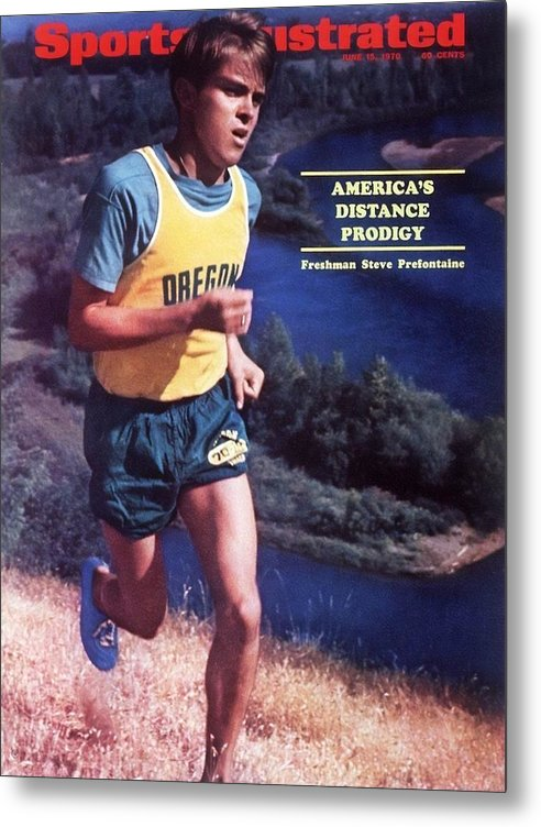 Magazine Cover Metal Print featuring the photograph Oregon Steve Prefontaine Sports Illustrated Cover by Sports Illustrated