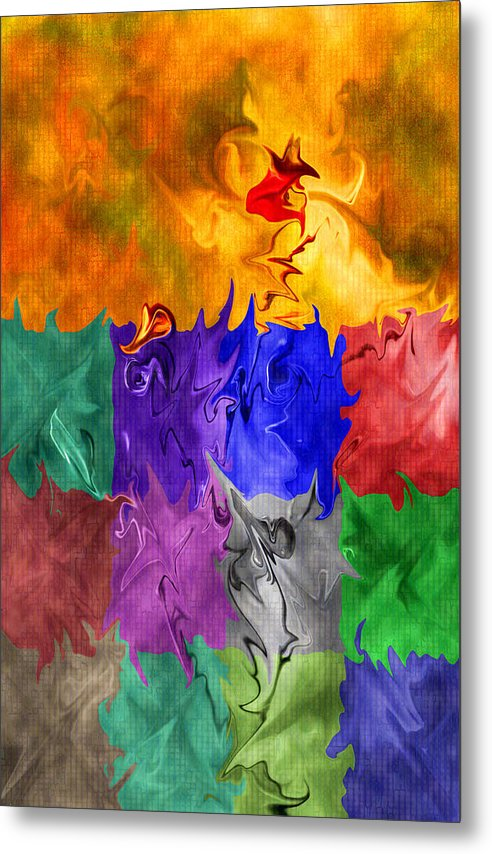 Abstract Metal Print featuring the digital art Fish Are Jumping by Tom Romeo