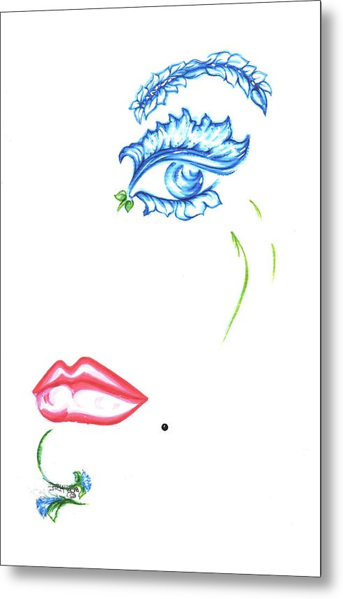 Eve Collection Metal Print featuring the drawing Lady Daisy by Judith Herbert
