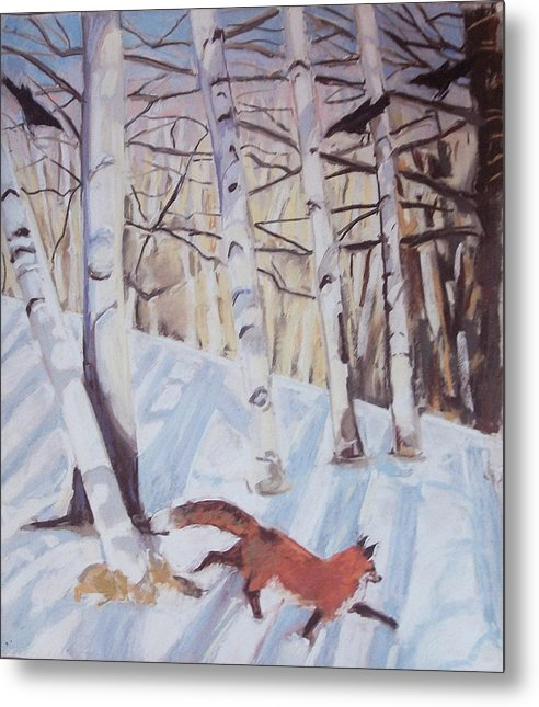 Fox Metal Print featuring the pastel Visitor by Grace Keown