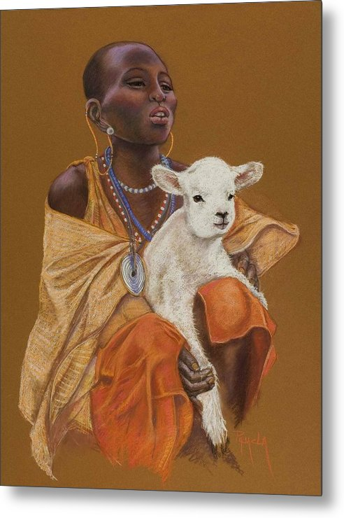 African Girl Holds A Little Lamb Happy That He Helps Her Family African Girl In Beads And Golden Garments White Lamb Africa Pastel Painting Pastel Painting Realistic Pam Mccabe Pamela Mccabe Metal Print featuring the painting African Girl With Lamb by Pamela Mccabe