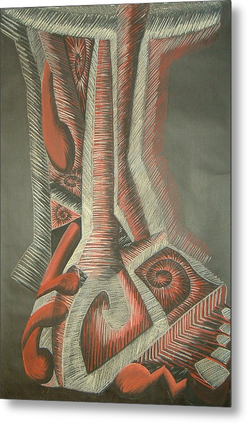 Abstract Metal Print featuring the drawing Foot by Donald Burroughs
