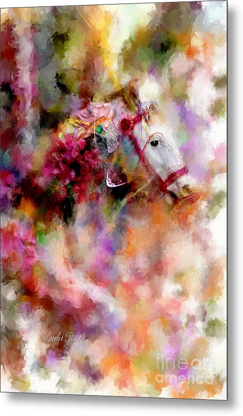 Abstract Horses Abstract Realism Bright Metal Print featuring the painting If Wishes Were Horses... by Carolyn Staut
