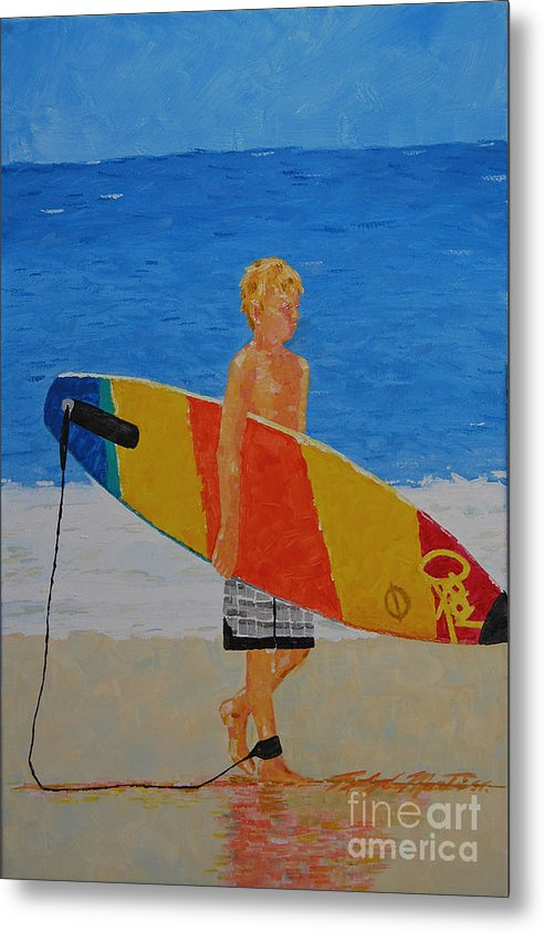 Beach Art Metal Print featuring the painting In Search Of A Ride by Art Mantia