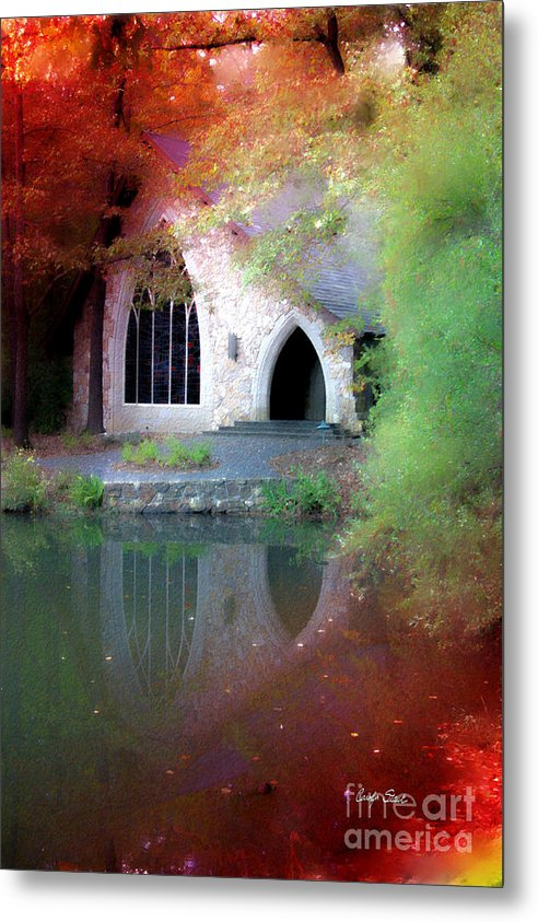 Landscape Fall Church Trees Reflection Sacred Metal Print featuring the painting Sacred Silence by Carolyn Staut