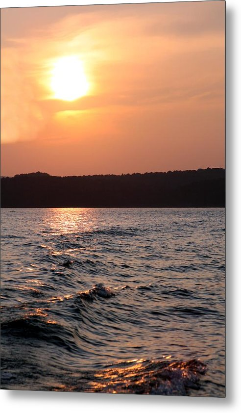 Sunset Metal Print featuring the photograph Waves On Greers Ferry Lake by Kenna Westerman