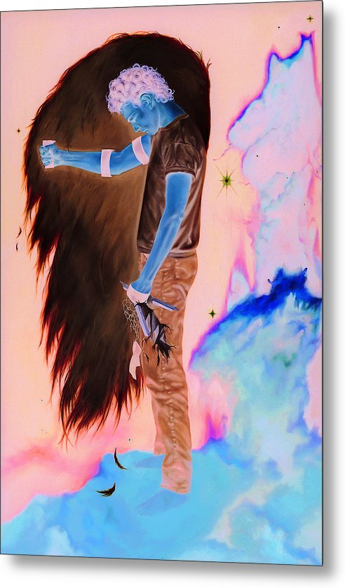 Portrait Metal Print featuring the painting The Fallen Angel by Helene Fleury