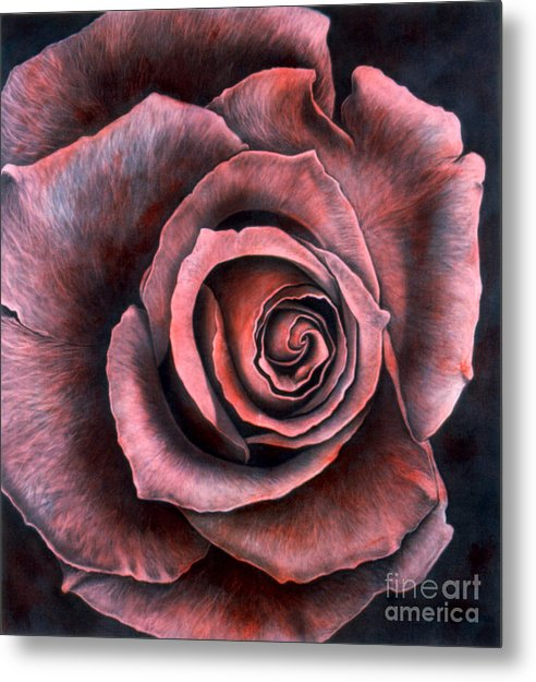 Realism Metal Print featuring the painting Red Rose by Lawrence Supino