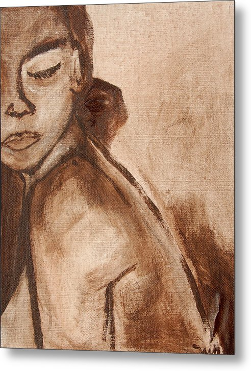 African American Woman Metal Print featuring the painting Sapphire In Sepia by Marquita Willis