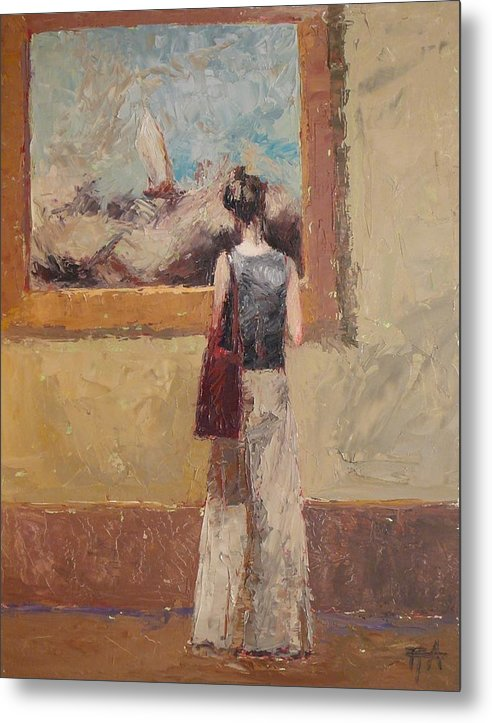 Girl Metal Print featuring the painting Admiring Turner by Irena Jablonski