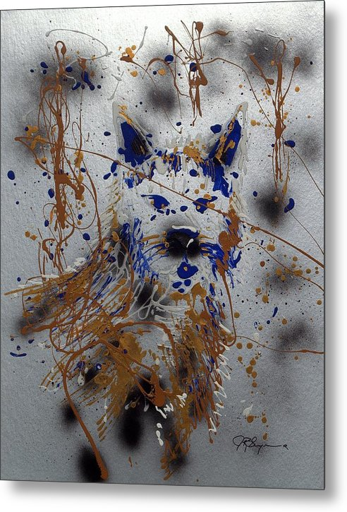 Impressionist Painting Metal Print featuring the mixed media The Lone Wolf Canis Lupus by J R Seymour