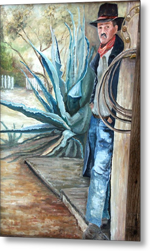 Cowboy Metal Print featuring the painting Cowboy by CJ Rider