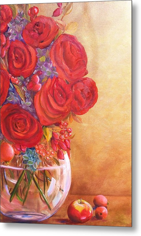 Red Roses Metal Print featuring the painting Golden Oldies by Dana Redfern