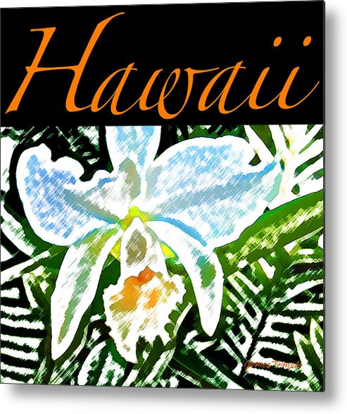 Hawaii T-shirt Metal Print featuring the digital art White Orchid by James Temple