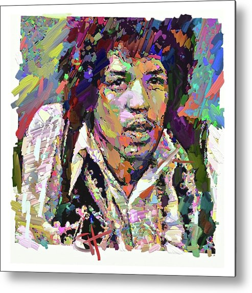 Jimi Hendrix Music Portrait Musician Rock Metal Print featuring the digital art Jimi by Scott Waters