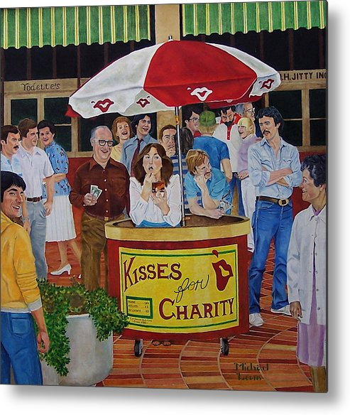 Illustration Metal Print featuring the painting Kisses For Charity by Michael Lewis