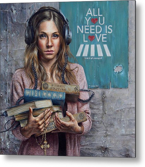 Painting Metal Print featuring the painting Listen 2 by Brent Schreiber