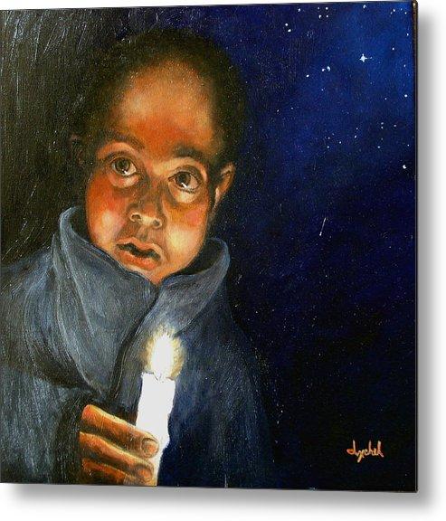 Child Metal Print featuring the painting Pidiendo posada by Ixchel Amor