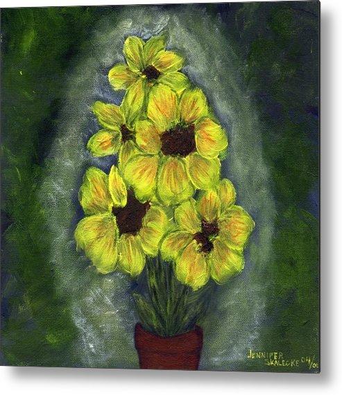 Flowers Metal Print featuring the painting Sunflower Season - www.jennifer-d-art.com by Jennifer Skalecke
