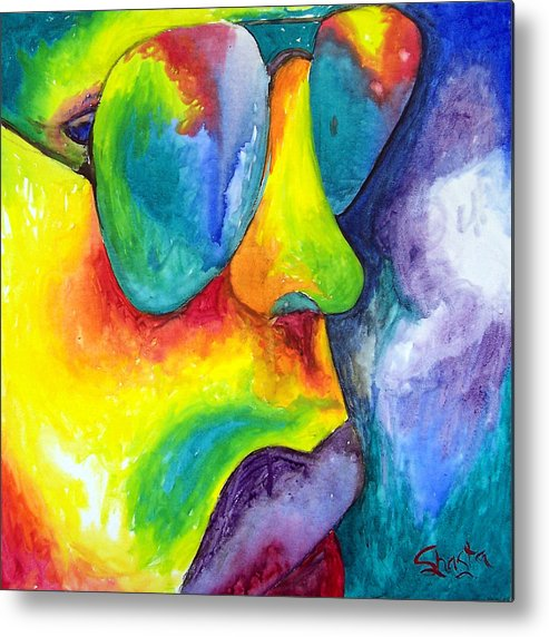 Vivid Contemporary Abstract Portrait Metal Print featuring the painting The Rock Star by Shasta Miller