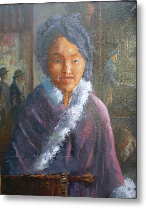 Period Painting Metal Print featuring the painting Tibetan Fur Coat by Bryan Alexander