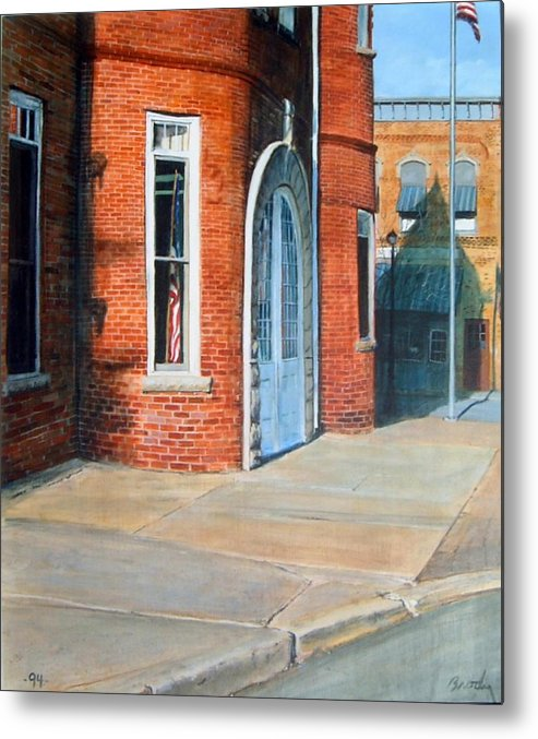 Realistic Metal Print featuring the painting Town Hall by William Brody