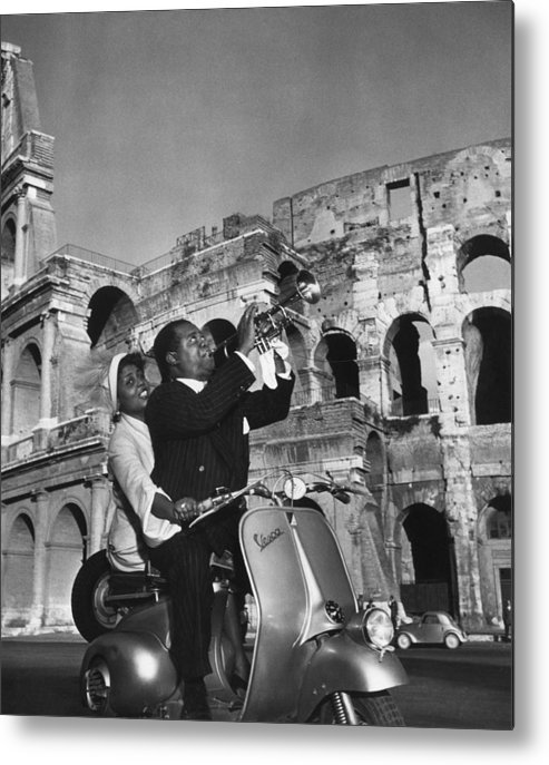 Singer Metal Print featuring the photograph Jazz Scooter by Slim Aarons