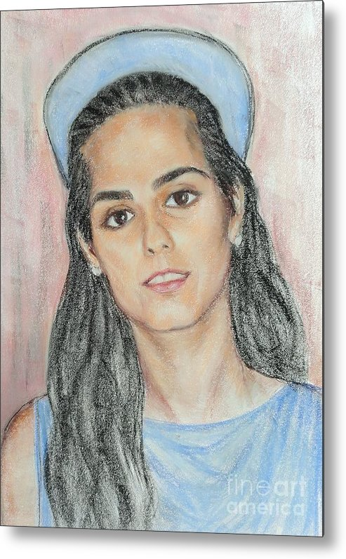 Portrait Metal Print featuring the painting Girl With A Blue Cap by Ziba Bastani