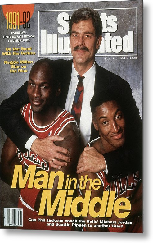 Chicago Bulls Metal Print featuring the photograph Chicago Bulls Coach Phil Jackson, Michael Jordan, And Sports Illustrated Cover by Sports Illustrated