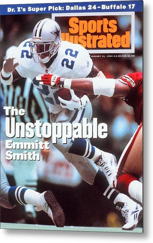 Magazine Cover Metal Print featuring the photograph Dallas Cowboys Emmitt Smith, 1994 Nfc Championship Sports Illustrated Cover by Sports Illustrated