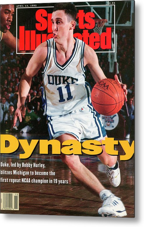 Sports Illustrated Metal Print featuring the photograph Duke University Bobby Hurley, 1992 Ncaa National Sports Illustrated Cover by Sports Illustrated