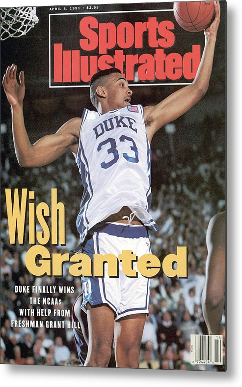 Sports Illustrated Metal Print featuring the photograph Duke University Grant Hill, 1991 Ncaa National Championship Sports Illustrated Cover by Sports Illustrated