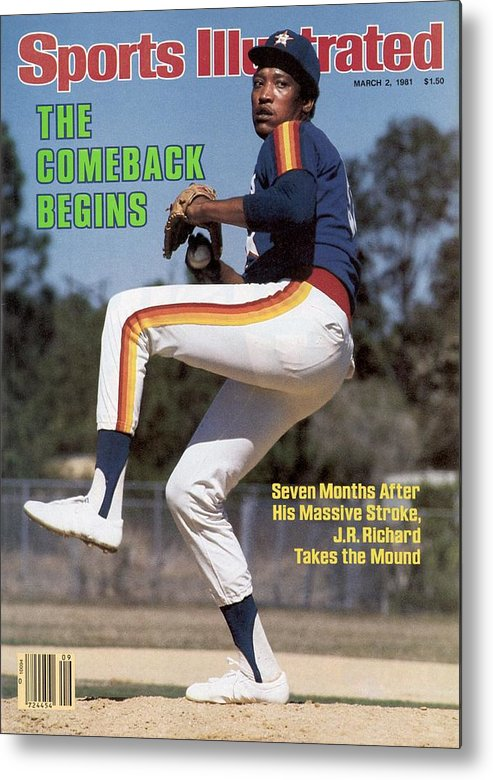 Magazine Cover Metal Print featuring the photograph Houston Astros J.r. Richard Sports Illustrated Cover by Sports Illustrated