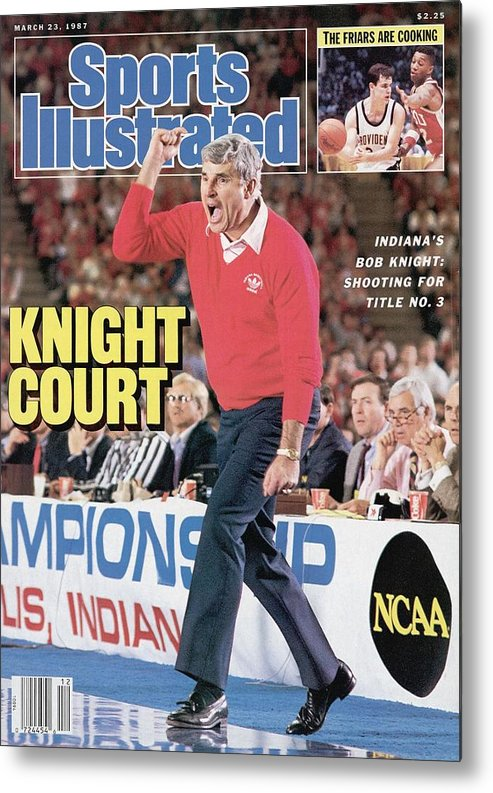 Magazine Cover Metal Print featuring the photograph Indiana University Coach Bob Knight, 1987 Ncaa Midwest Sports Illustrated Cover by Sports Illustrated