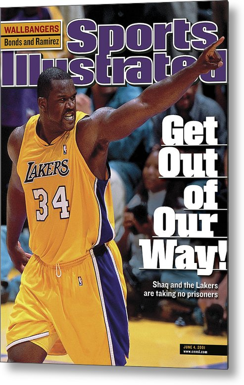 Magazine Cover Metal Print featuring the photograph Los Angeles Lakers Shaquille Oneal, 2001 Nba Western Sports Illustrated Cover by Sports Illustrated