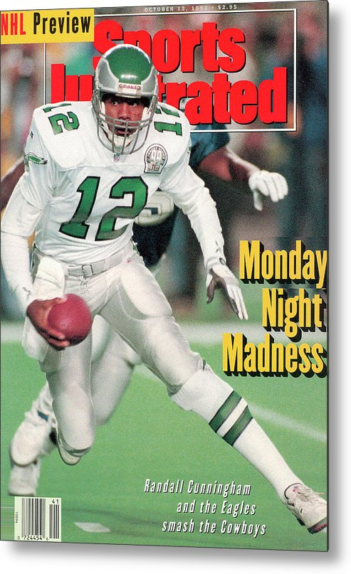 Sports Illustrated Metal Print featuring the photograph Philadelphia Eagles Qb Randall Cunningham... Sports Illustrated Cover by Sports Illustrated