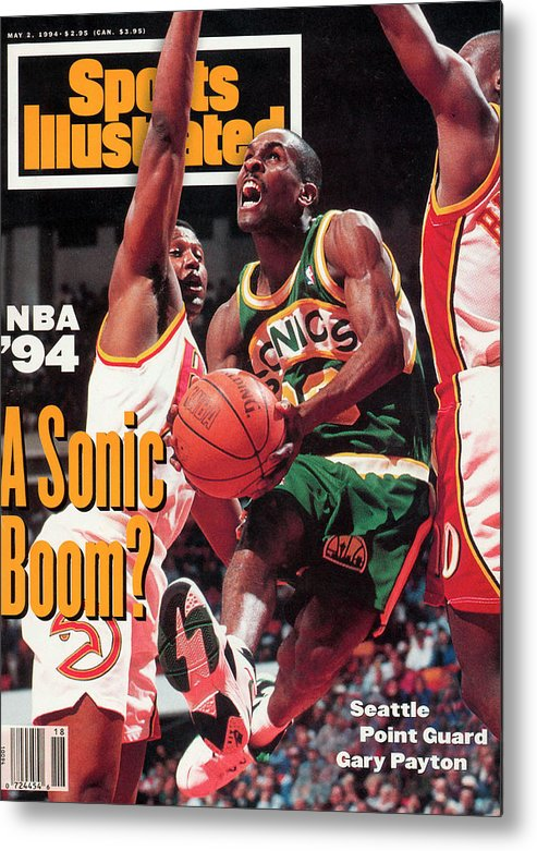 Atlanta Metal Print featuring the photograph Seattle Supersonics Gary Payton... Sports Illustrated Cover by Sports Illustrated