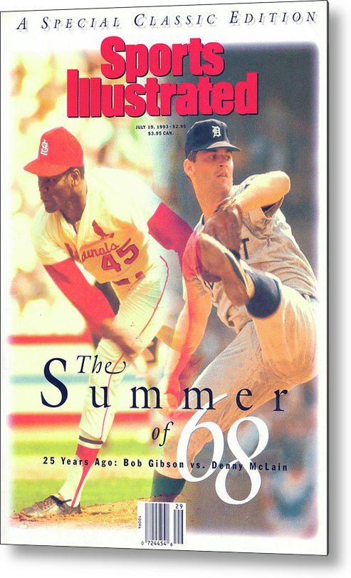 St. Louis Cardinals Metal Print featuring the photograph St. Louis Cardinals Bob Gibson And Detroit Tigers Denny Sports Illustrated Cover by Sports Illustrated