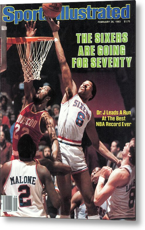 Magazine Cover Metal Print featuring the photograph The Sixers Are Going For Seventy Sports Illustrated Cover by Sports Illustrated