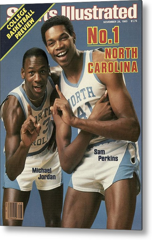1980-1989 Metal Print featuring the photograph Unc Michael Jordan And Sam Perkins Sports Illustrated Cover by Sports Illustrated