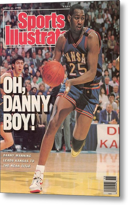 1980-1989 Metal Print featuring the photograph University Of Kansas Danny Manning, 1988 Ncaa National Sports Illustrated Cover by Sports Illustrated
