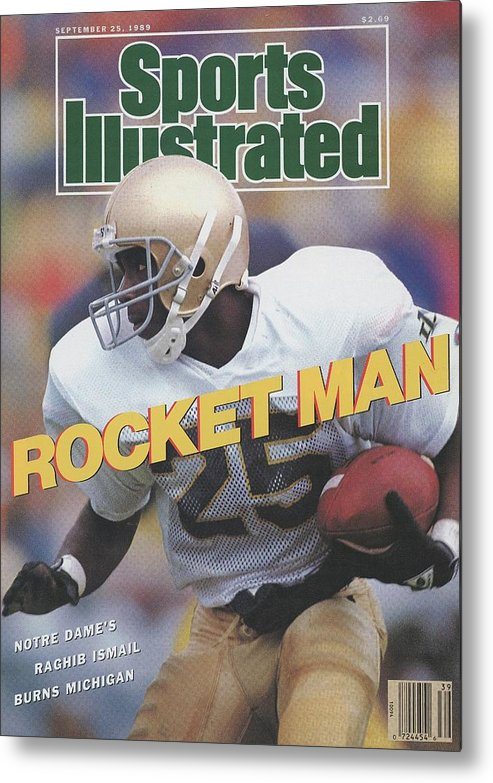 1980-1989 Metal Print featuring the photograph University Of Notre Dame Rocket Ismail Sports Illustrated Cover by Sports Illustrated
