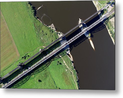 Railroad Track Metal Print featuring the photograph Aerial Photo Of The Railway Bridge by Dariuszpa
