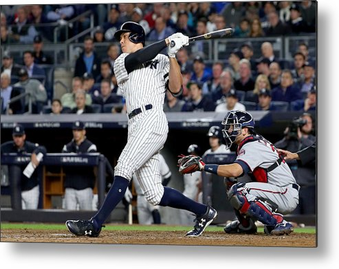 Playoffs Metal Print featuring the photograph American League Wild Card Game - Minnesota Twins v New York Yankees by Al Bello