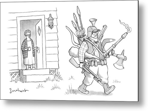 #condenastnewyorkercartoon Metal Print featuring the drawing An Elderly Woman Calls Out From The Front Door by David Borchart