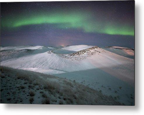 Scenics Metal Print featuring the photograph Aurora, Myvatn, Iceland by David Clapp