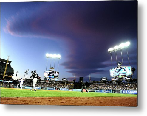 Ball Metal Print featuring the photograph Colorado Rockies V Los Angeles Dodgers by Harry How