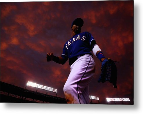 American League Baseball Metal Print featuring the photograph Colorado Rockies V Texas Rangers by Tom Pennington