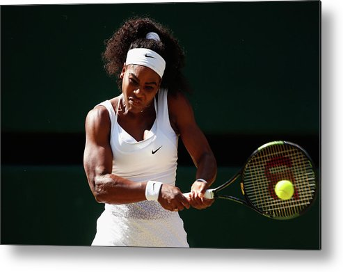 Serena Williams - Tennis Player Metal Print featuring the photograph Day Ten The Championships - Wimbledon by Julian Finney