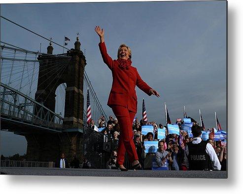 Nominee Metal Print featuring the photograph Hillary Clinton Campaigns In Ohio Ahead by Justin Sullivan